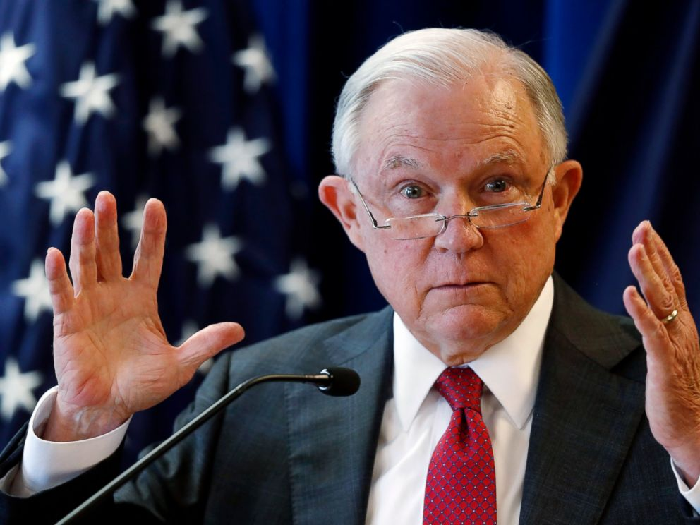 In this July 13, 2018 photo, Attorney General Jeff Sessions delivers remarks in Portland, Maine.