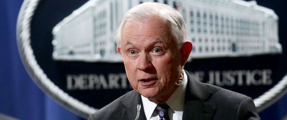 PHOTO: Attorney General Jeff Sessions speaks during a news conference at the Justice Department, Nov. 29, 2017, in Washington, DC.