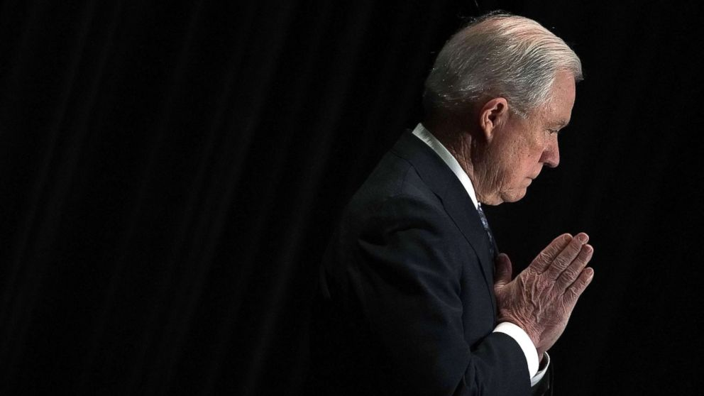 Attorney General Jeff Sessions is introduced during the Justice Department's Executive Officer for Immigration Review (EOIR) Annual Legal Training Program June 11, 2018 in Tysons, Va.