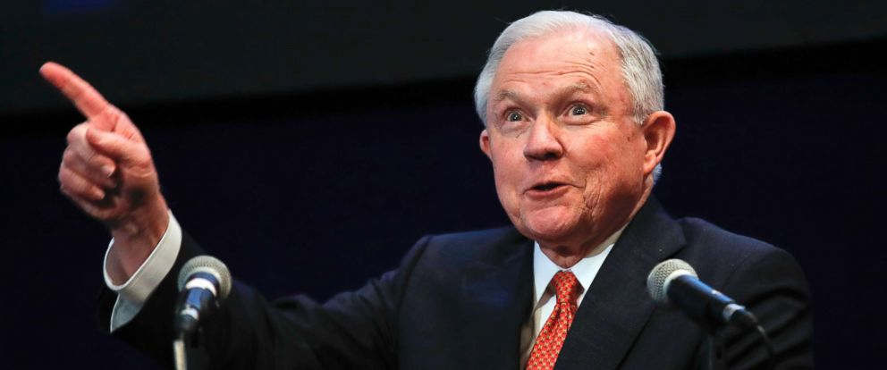 PHOTO: Attorney General Jeff Sessions reacts to the audience as he arrives to speak at the Federalist Society 2017 National Lawyers Convention at the Mayflower Hotel in Washington, Nov. 17, 2017, about maintaining and strengthening the rule of law.