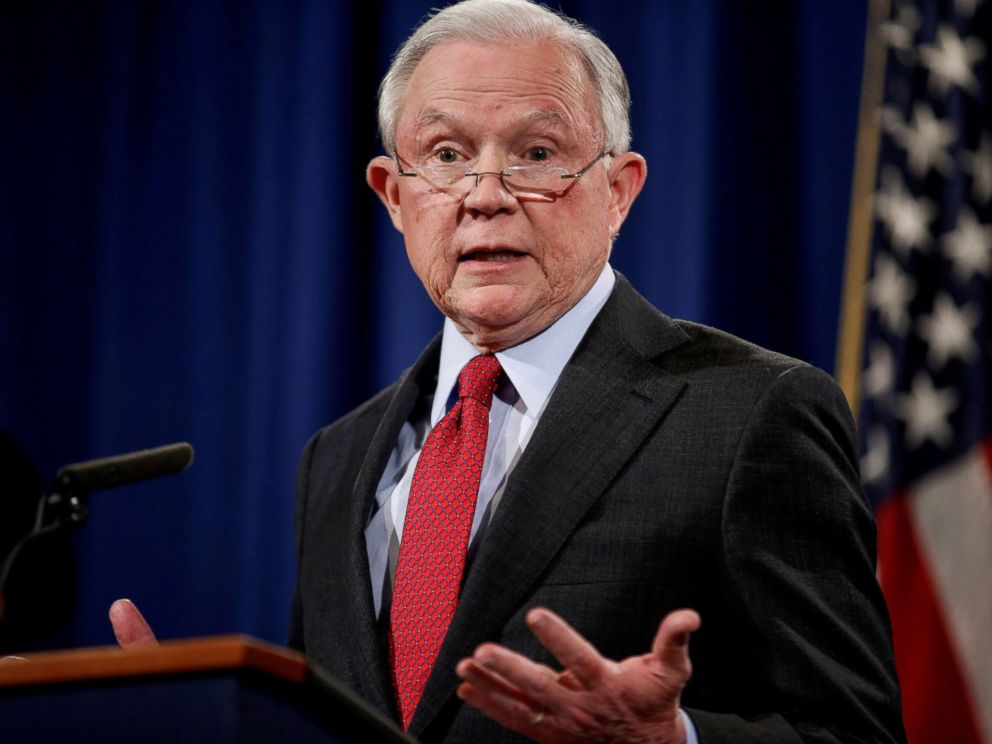PHOTO: U.S. Attorney General Jeff Sessions speaks during a news conference at the Department of Justice in Washington, Dec. 15, 2017.