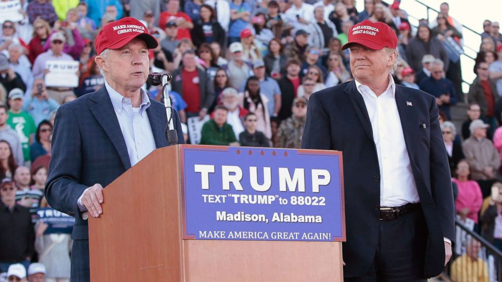 Senator Jeff Sessions becomes the first Senator to endorse Donald Trump for President of the United States at Madison City Stadium on Feb. 28, 2016 in Madison, Alabama.