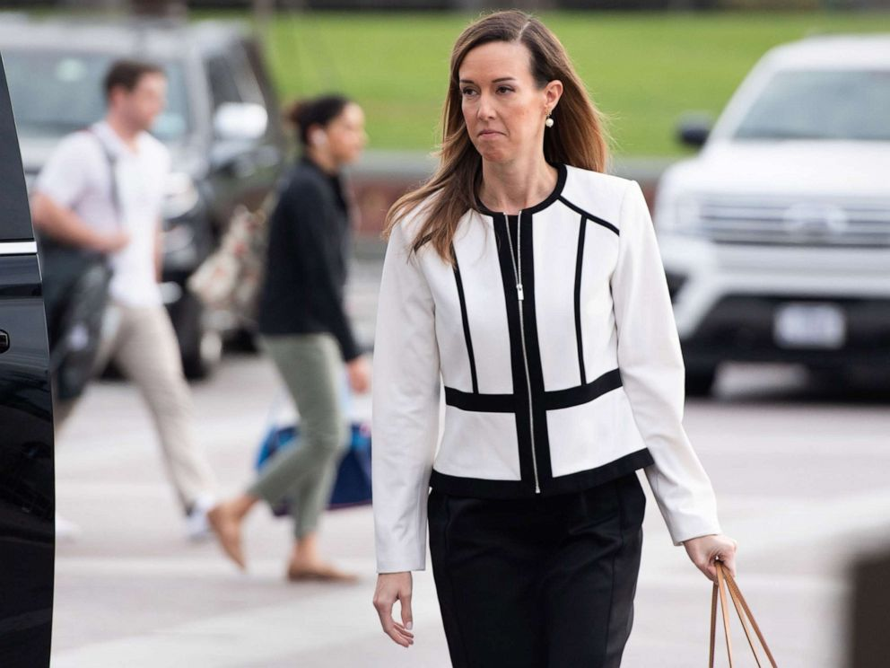 PHOTO: Jennifer Williams, an aide to Vice President Mike Pence, arrives for a deposition as part of the House Impeachment inquiries on Capitol Hill in Washington, D.C., Nov. 7, 2019.
