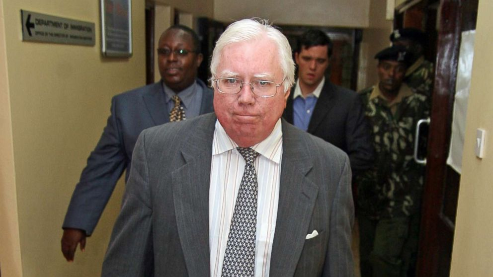 Jerome Corsi arrives at the immigration department in Nairobi, Kenya, Oct. 7, 2008.