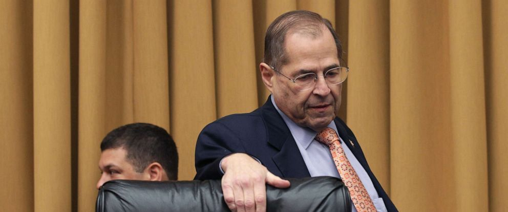 PHOTO: Chairman of the House Judiciary Committee Rep. Jerry Nadler arrives at a hearing in which former White House Counsel Don McGahn was subpoenaed to testify, May 21, 2019 on Capitol Hill in Washington, D.C.