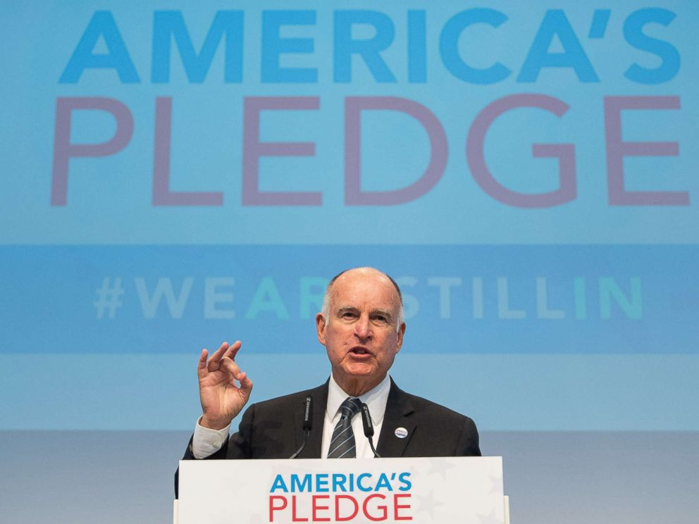 PHOTO: California Gov. Jerry Brown, talks during a discussion at the Americas Pledge launch event at the U.S. We Are Still In pavilion at the COP 23 United Nations Climate Change Conference, Nov. 11, 2017 in Bonn, Germany.