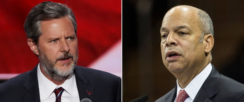 PHOTO: Pictured (L-R) are Jerry Falwell Jr. in Cleveland, Ohio, July 21, 2016 and Jeh Johnson in New York City, Dec. 29, 2015.
