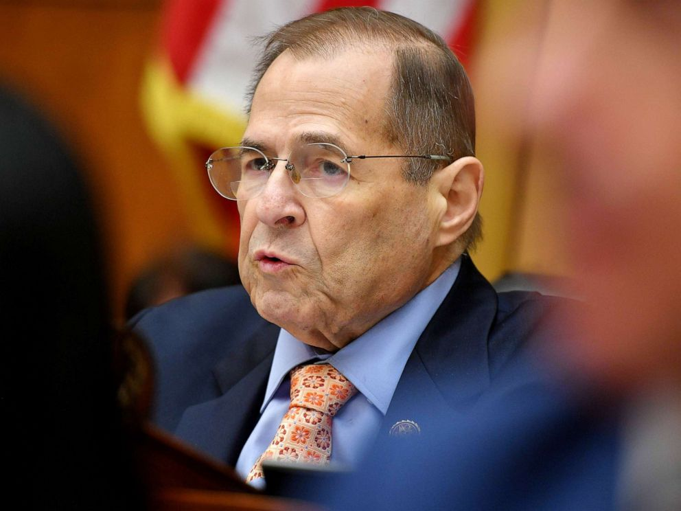 PHOTO: Chairman of the House Judiciary Committee,Rep. Jerry Nadler, speaks during a hearing where former White House lawyer Don McGhan is expected to testify on the Mueller report, on Capitol Hill in Washington, D.C., May 21, 2019.