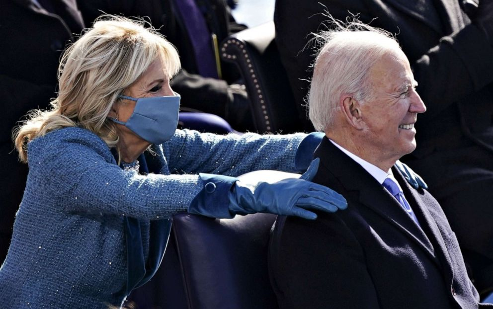 PHOTO: First Lady Jill Biden places her hands on President Joe Biden during the 59th Presidential Inauguration in Washington, Jan. 20, 2021.