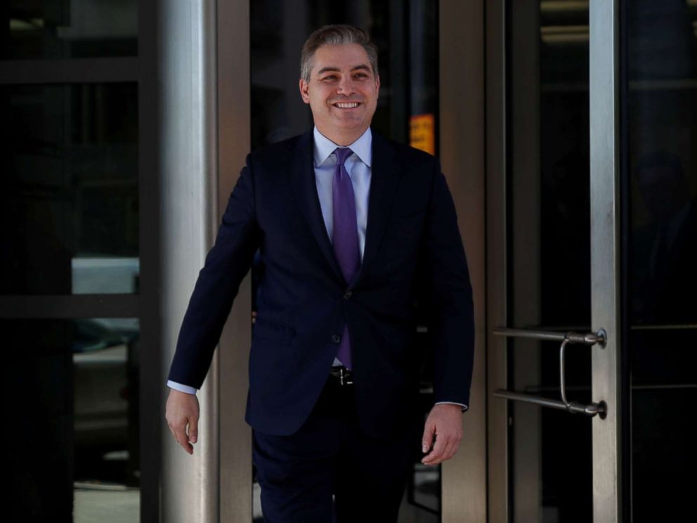PHOTO: CNN White House correspondent Jim Acosta smiles as he departs after a judge temporarily restored his White House press credentials following a hearing at U.S. District Court in Washington, Nov. 16, 2018.