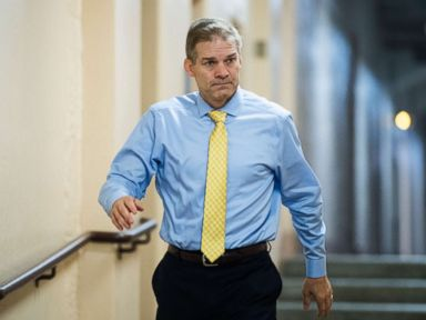 PHOTO: Rep. Jim Jordan arrives for the House Republicans caucus meeting in the Capitol on immigration reforms, June 7, 2018.