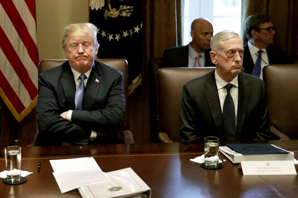 PHOTO: President Donald Trump pauses while speaking as James Mattis, Secretary of Defense, listens during a Cabinet meeting at the White House in Washington, June 21, 2018.