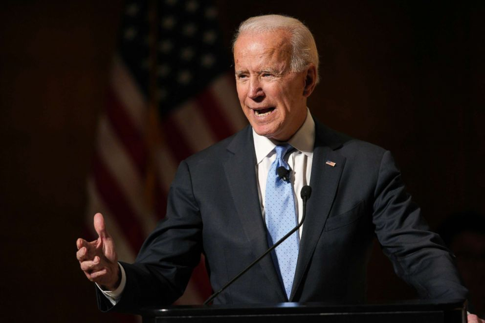 Former Vice President Joe Biden speaks at the Chuck Hagel Forum in Global Leadership, on the campus of the University of Nebraska-Omaha, in Omaha, Neb., Feb. 28, 2019.