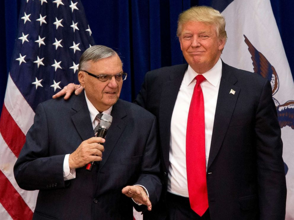 PHOTO: Then Republican presidential candidate Donald Trump is joined by Maricopa County, Ariz., Sheriff Joe Arpaio at a campaign event at the Roundhouse Gymnasium in Marshalltown, Iowa, Jan. 26, 2016.