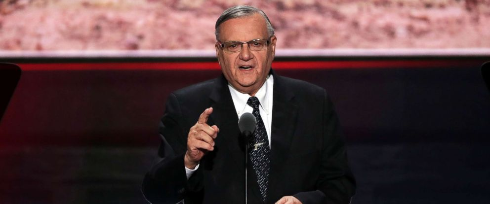 PHOTO: Maricopa County Sheriff Joe Arpaio gestures to the crowd as he delivers a speech at the Republican National Convention on July 21, 2016, in Cleveland.