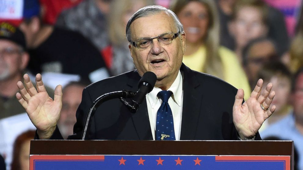 Sheriff Joe Arpaio attends a rally by Republican presidential candidate Donald Trump, Oct. 4, 2016, in Prescott Valley, Ariz.