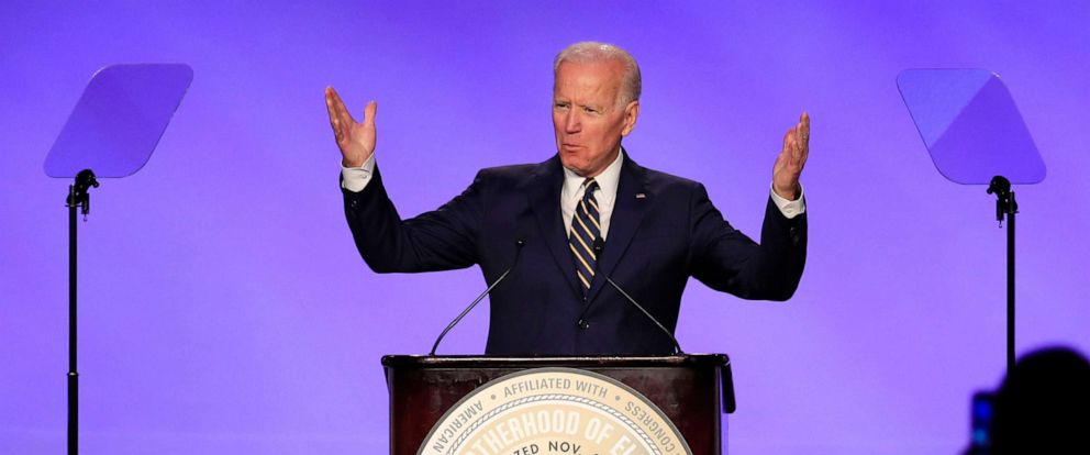 PHOTO: Former Vice President Joe Biden speaks at the IBEW Construction and Maintenance Conference in Washington, April 5, 2019.