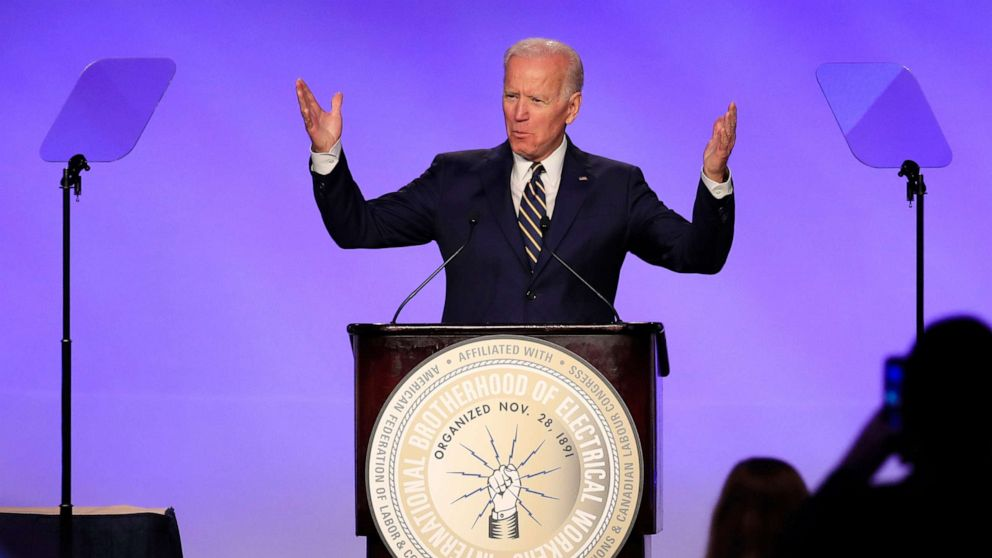 Former Vice President Joe Biden speaks at the IBEW Construction and Maintenance Conference in Washington, April 5, 2019.