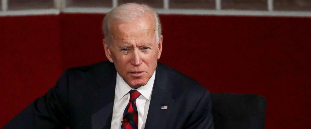 PHOTO: Former Vice president Joe Biden speaks at the University of Pennsylvanias Irvine Auditorium, Feb. 19, 2019, in Philadelphia.