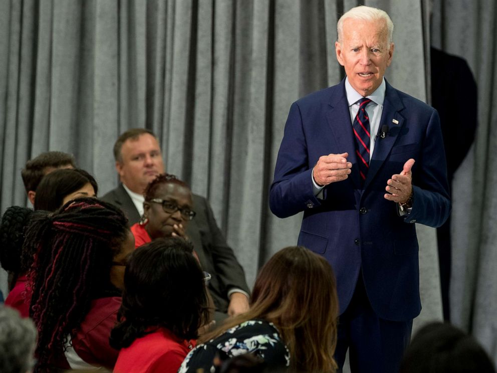 PHOTO: Former Vice President Joe Biden, a 2020 Democratic presidential hopeful, speaks during a town all meeting with a group of educators from the American Federation of Teachers, May 28, 2019, in Houston.