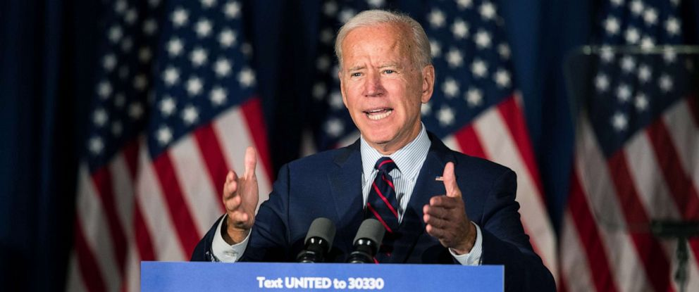 PHOTO: Democratic presidential candidate, former Vice President Joe Biden speaks during a campaign event, Oct. 9, 2019, in Rochester, New Hampshire.