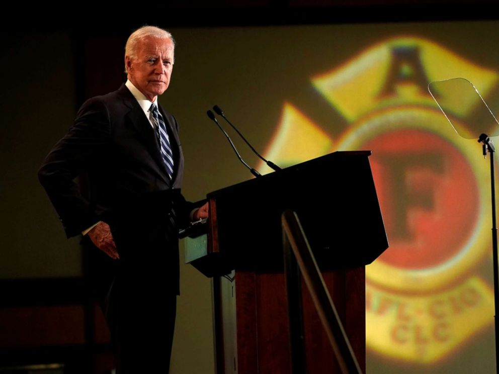 PHOTO: Former Vice President Joe Biden addresses the International Association of Fire Fighters in Washington, March 12, 2019.