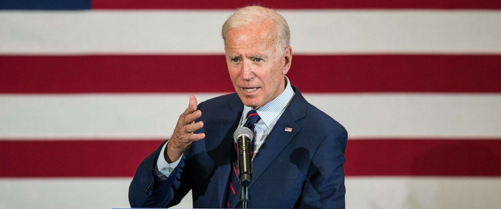 PHOTO: Democratic presidential candidate, former Vice President Joe Biden speaks during a campaign event, Oct. 9, 2019, in Manchester, New Hampshire.