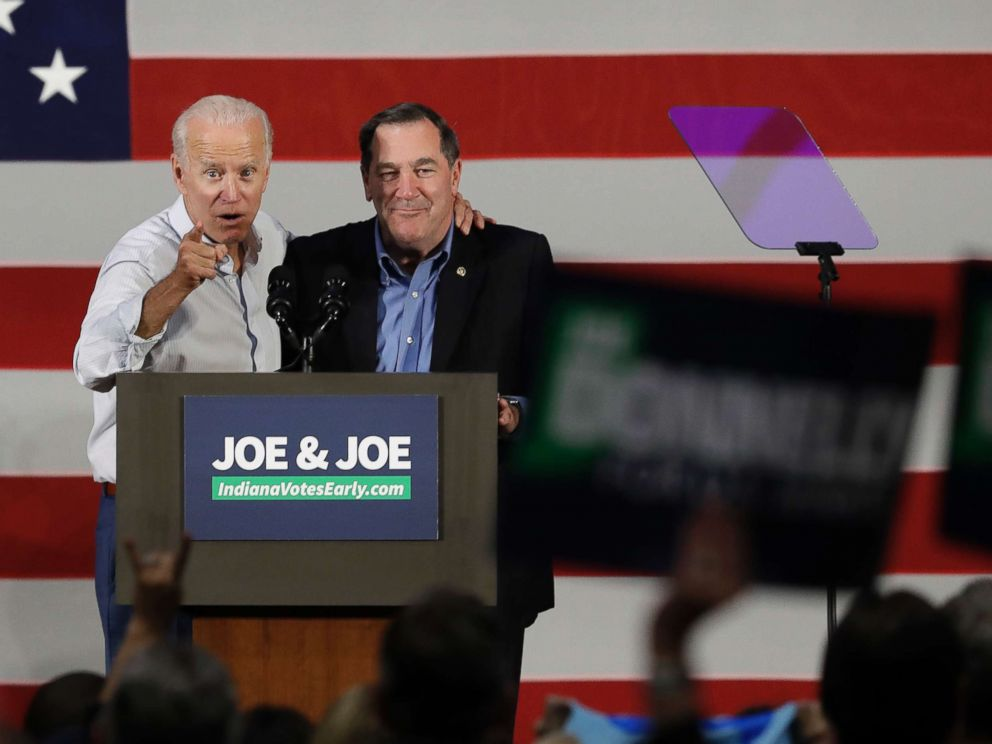 PHOTO: Former Vice President Joe Biden, left, and Democratic Sen. Joe Donnelly speak during a rally, Oct. 12, 2018, in Hammond, Ind.