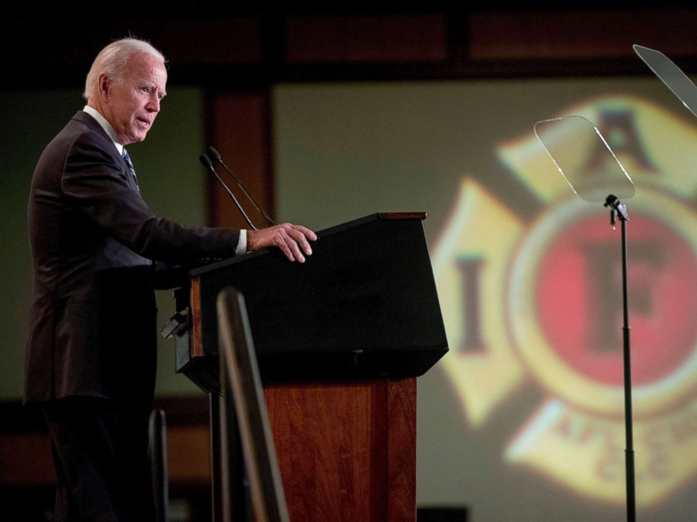 PHOTO: Former Vice President Joe Biden speaks at the International Association of Firefighters at the Hyatt Regency on Capitol Hill in Washington, March 12, 2019.