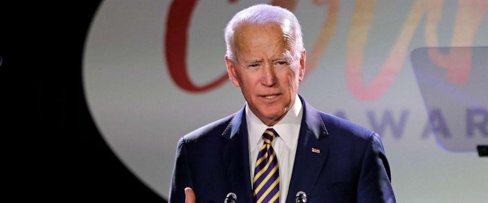 PHOTO: Former Vice President Joe Biden speaks at the Biden Courage awards, March 26, 2019, in New York.