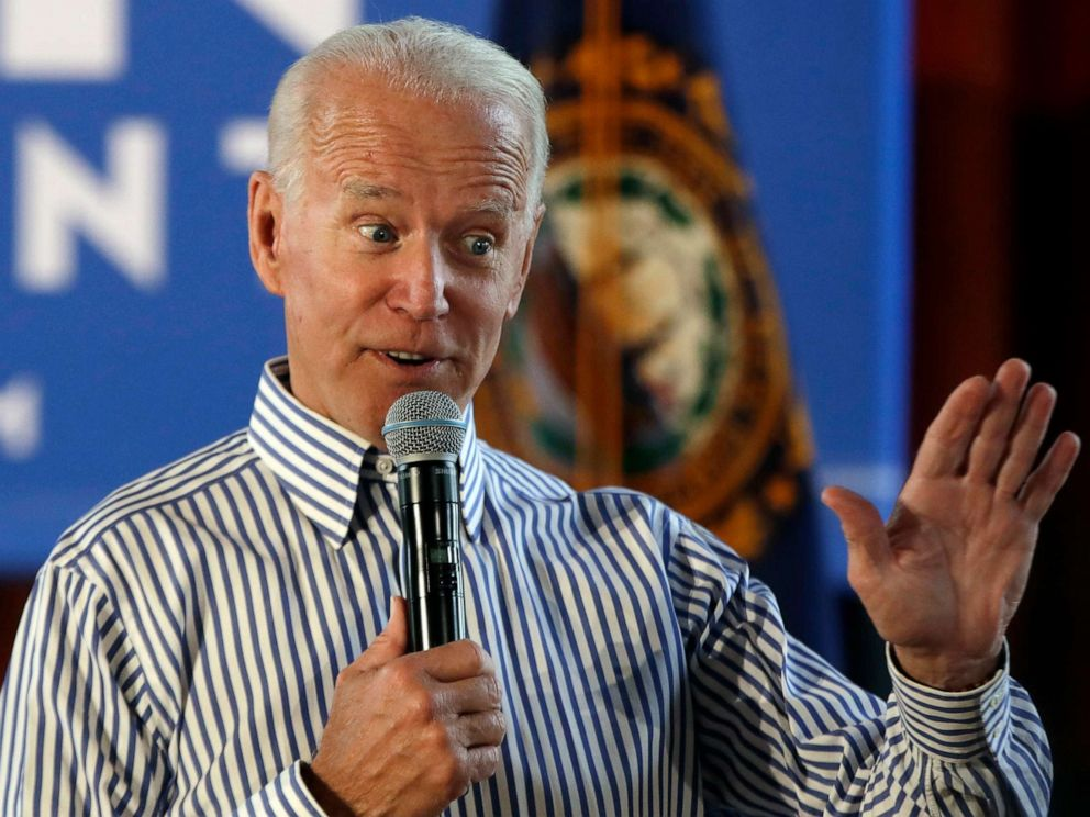 PHOTO: Former vice president and Democratic presidential candidate Joe Biden speaks during a campaign event in Berlin, N.H., June 4, 2019.