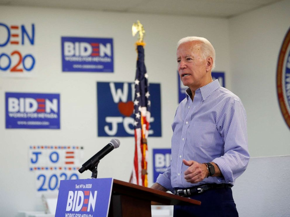 PHOTO: Former Vice President and Democratic presidential candidate Joe Biden speaks at a campaign event in an electrical workers union hall, July 20, 2019, in Las Vegas.
