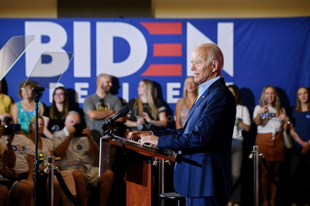 PHOTO: Former Vice President Joe Biden, a Democratic presidential hopeful, addresses the crowd during a campaign event at Sun City Macdonald Ranch in Henderson, Nev., Aug. 3, 2019.