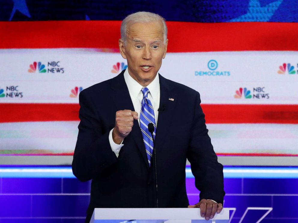 PHOTO: Joe Biden participates in the second night of the first 2020 democratic presidential debate at the Adrienne Arsht Center for the Performing Arts in Miami, June 27, 2019.