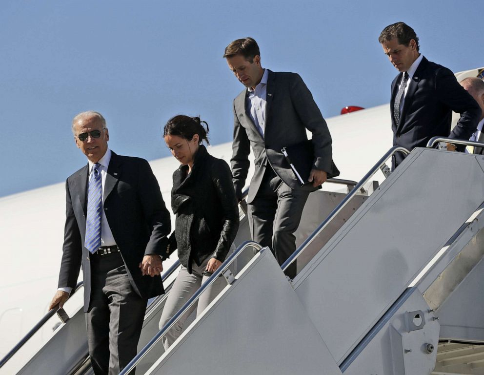 PHOTO: In this file photo, Vice President Joe Biden, left, accompanied by daughter Ashley Biden, and sons Beau Biden and Hunter Biden, walks down the steps of Air Force Two upon their arrival in Lexington, K.Y., on Oct. 11, 2012.