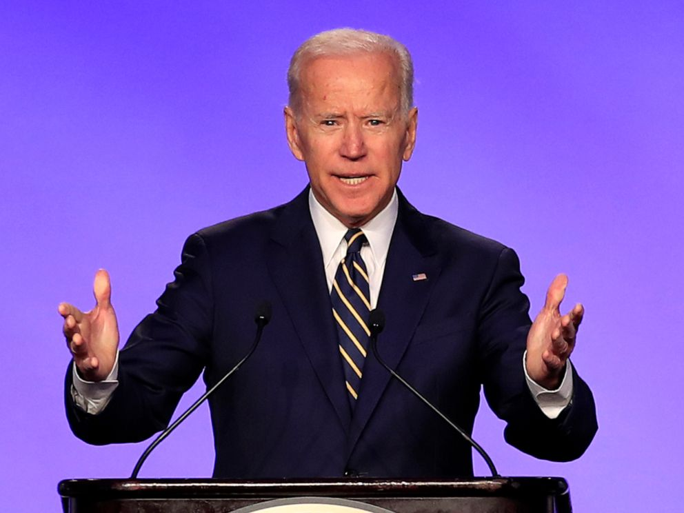 PHOTO: Former Vice President Joe Biden speaks at the International Brotherhood of Electrical Workers construction and maintenance conference in Washington, April 5, 2019.
