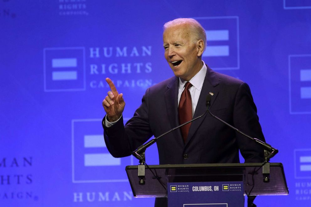 PHOTO: Former Vice President, and democratic presidential candidate Joe Biden speaks during the Human Rights Campaign Columbus, Ohio Dinner at Ohio State University, June 1, 2019.