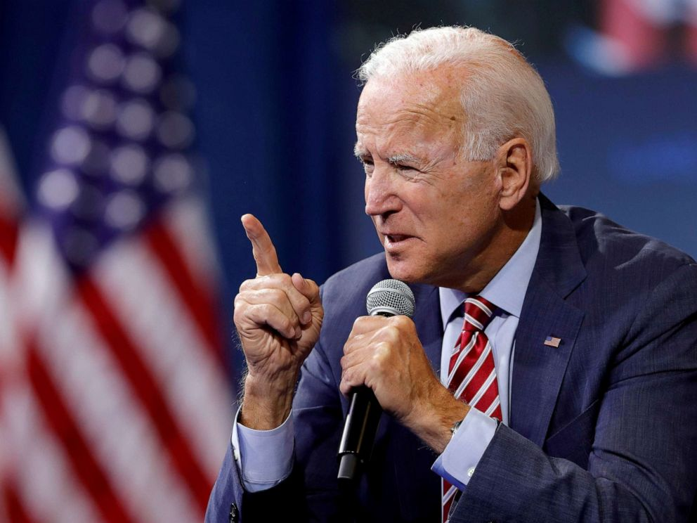 PHOTO: Democratic presidential candidate and former Vice President Joe Biden speaks during a forum held by gun safety organizations the Giffords group and March For Our Lives in Las Vegas, Oct. 2, 2019.