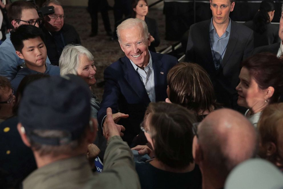 PHOTO: DUBUQUE, IOWA - MAY 01: Democratic presidential candidate and former Vice President Joe Biden greets guests during a campaign event at the Grand River Center on April 30, 2019 in Dubuque, Iowa.