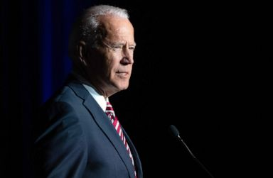 PHOTO: Former Vice President Joe Biden speaks during the First State Democratic Dinner in Dover, Delaware, March 16, 2019.