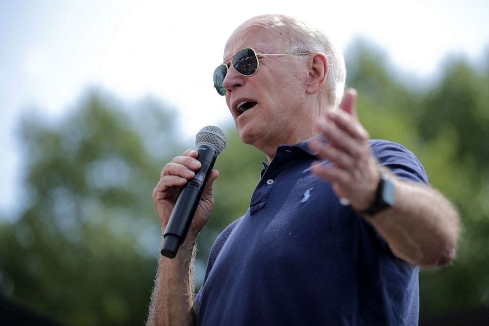 PHOTO: Democratic presidential candidate and former Vice President Joe Biden delivers a 20-minute campaign speech at the Des Moines Register Political Soapbox at the Iowa State Fair, Aug. 8, 2019, in Des Moines, Iowa.