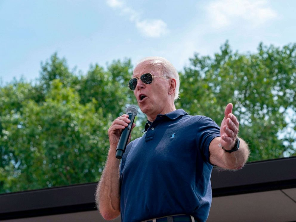 PHOTO: Democratic presidential hopeful former Vice President Joe Biden speaks at the Des Moines Register Political Soapbox during a visit to the Iowa State Fair in Des Moines, Iowa.