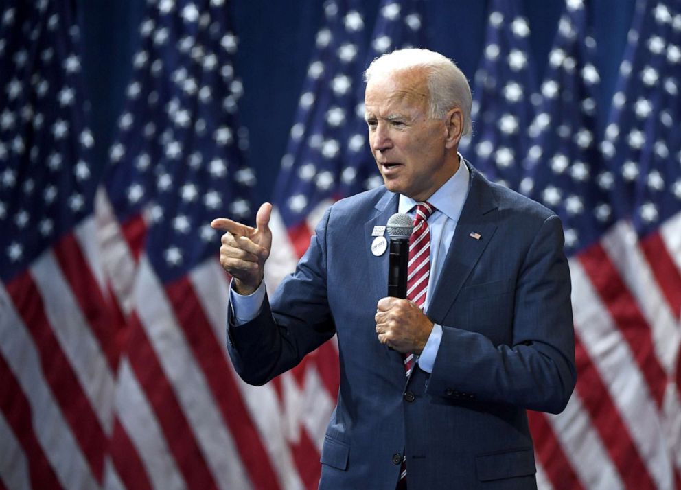 PHOTO: Democratic presidential candidate, former U.S. Vice President Joe Biden speaks during the 2020 Gun Safety Forum hosted by gun control activist groups Giffords and March for Our Lives at Enclave, Oct. 2, 2019, in Las Vegas.