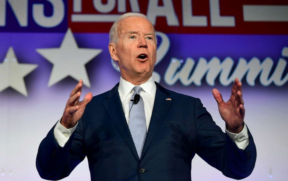 PHOTO: Former Vice President and Democratic presidential hopeful Joe Biden speaks at the SEIU Unions for All Summit in Los Angeles, Oct. 4, 2019.