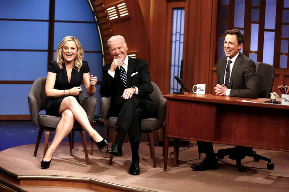 PHOTO: Actress Amy Poehler and Vice President Joe Biden during an interview with host Seth Meyers on Feb. 24, 2014.