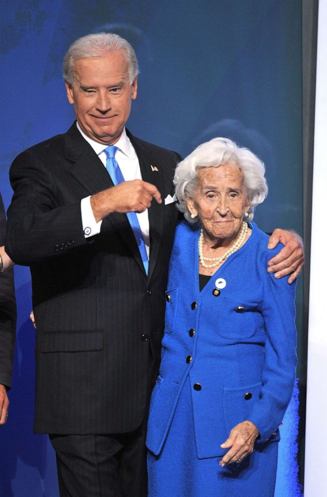 PHOTO:Democratic vice presidential nominee Joe Biden points to his mother Jean Finnegan Biden during the Democratic National Convention 2008in Denver, Aug. 27, 2008.