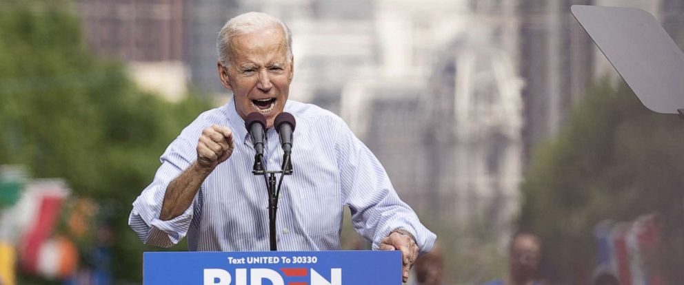 PHOTO: Democratic presidential candidate, former U.S. Vice President Joe Biden speaks during a campaign kickoff rally, May 18, 2019 in Philadelphia.