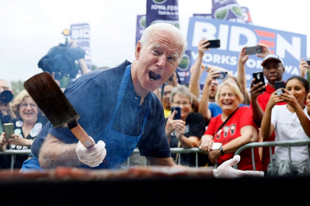 PHOTO: Democratic presidential candidate former Vice President Joe Biden works the grill during the Polk County Democrats Steak Fry, Sept. 21, 2019, in Des Moines, Iowa.