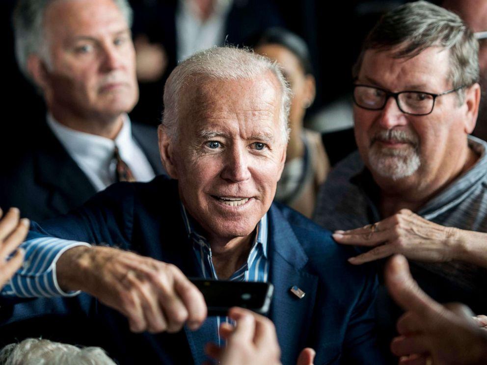 PHOTO: Democratic Presidential candidate former Vice President Joe Biden speaks meets Iowa voters at the Big Grove Brewery in Iowa City, Iowa, May 1, 2019.