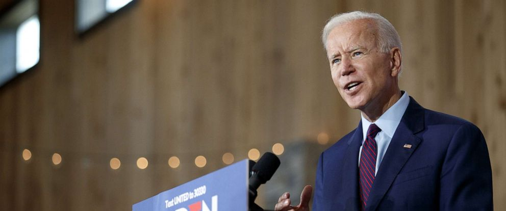 PHOTO: Democratic presidential candidate and former U.S. Vice President Joe Biden delivers remarks about White Nationalism during a campaign press conference, Aug. 7, 2019, in Burlington, Iowa.
